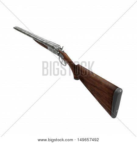 Old double barreled hunter gun isolated on white background. 3D illustration
