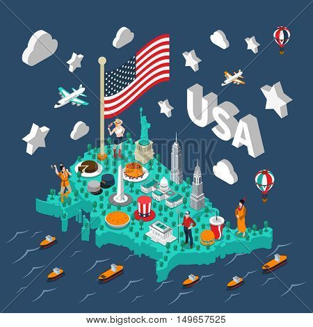 USA isometric map with touristic sights and transport on blue background vector illustration