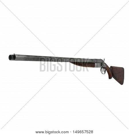 Hunting double-barrelled gun on white background. 3D illustration