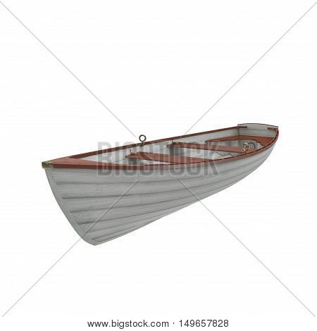 3D illustration of a wooden boat on white background.