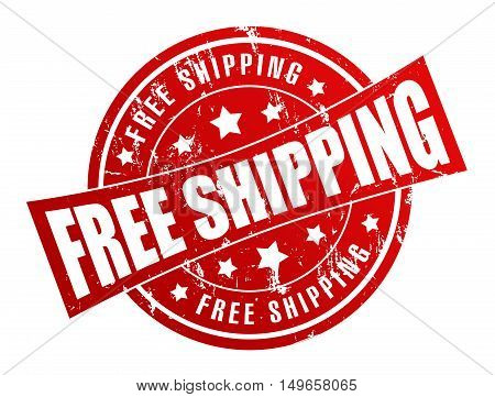 free shipping rubber stamp illustration isolated on white background