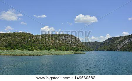 The landscape near the small town of Skradin on the coast of the Sibenik-Knin County of Croatia