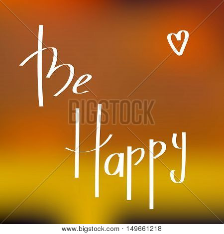 Be Happe Greeting Card. Colorful background and heart