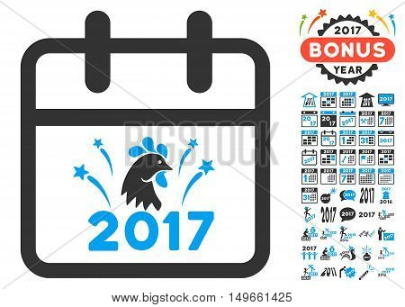 2017 New Year Day pictograph with bonus 2017 year pictograph collection. Glyph illustration style is flat iconic symbols, white background.
