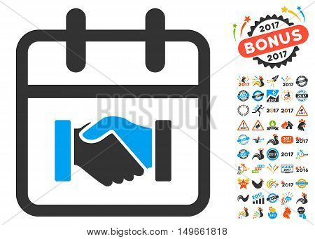Contract Day pictograph with bonus 2017 clip art. Glyph illustration style is flat iconic symbols, white background.