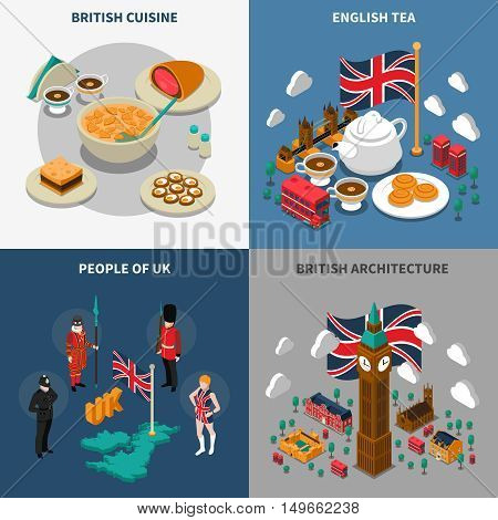 Great britain touristic isometric 2x2 icons set with british cultural elements architecture cuisine and people isolated vector illustration