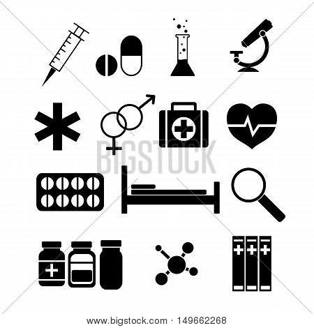 Medicine icons set. Silhouette flat design vector illustration