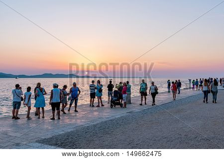 ZADAR CROATIA - SEPTEMBER 15: This is a popular viewpoint for tourists to come and view the sunset and a famous place near the old town on September 15th 2016 in Zadar