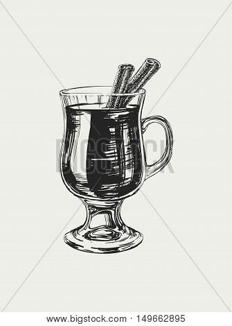 Mulled Wine Hand Drawn Drink Vector Illustration Mulled Wine Hand Drawn Drink Vector Illustration