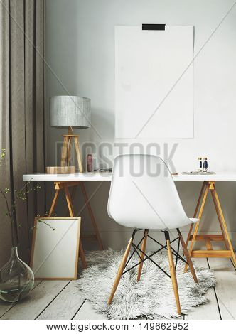 White fur rug and simple desk of modern Scandinavian interior design. 3d Rendering.