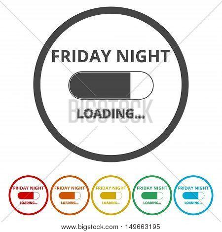 Friday loading. Progress loading bar icon set on white