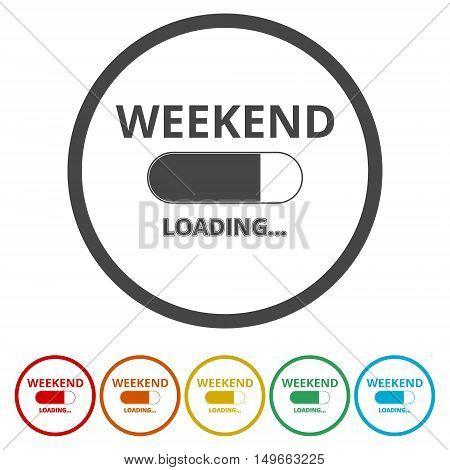 Weekend - loading icon set on white background