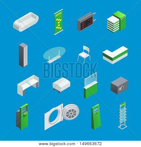 Colorful isometric elements set for bank interior with furniture and atm isolated on blue background vector illustration