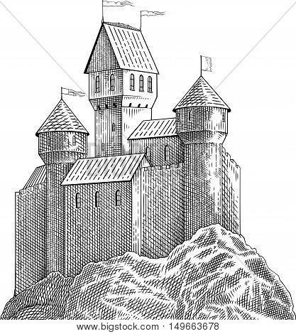 Black and white engraving style picture with medieval castle on rock