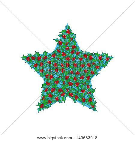 Holly star. Vector hand drawn background, design element for Christmas and New Year greeting card or banner. Holly with berry, isolated on white