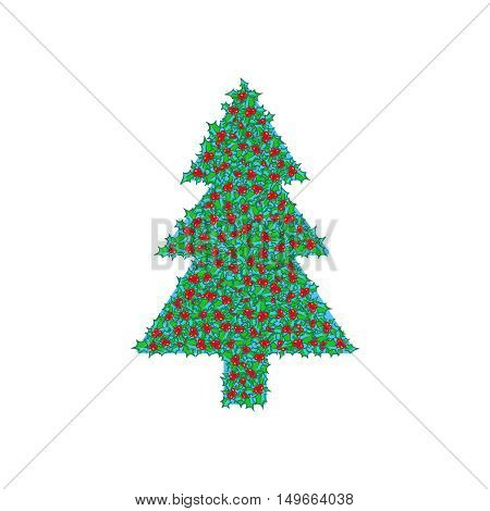 Holly tree clip-art. Vector hand drawn background, design element for Christmas and New Year greeting card or banner. Holly with berry, isolated on white