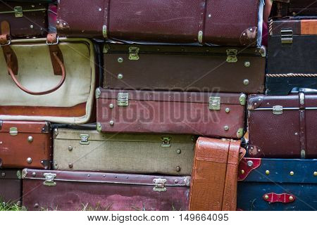 old vintage bag suitcases brown, purple and white