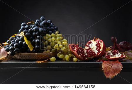 Blue And Green Grapes With Pomegranate