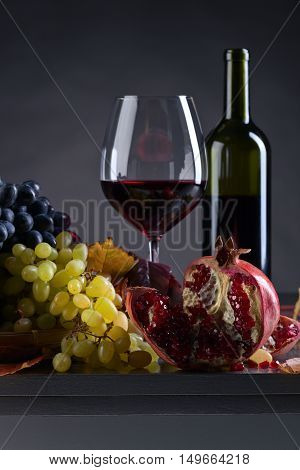 Ripe Juicy Grape And Glass Of Wine