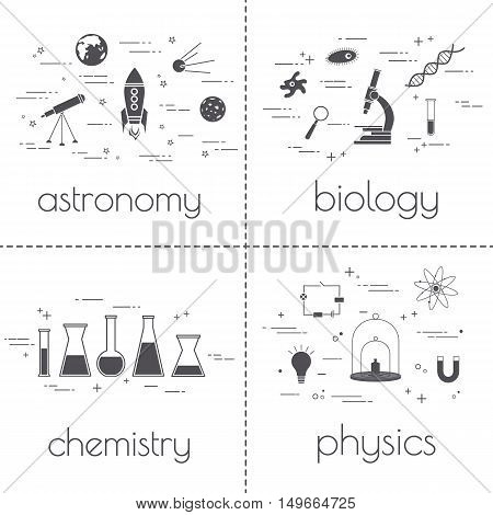 Set of line icons. Educational and science concept. Isolated on white background.