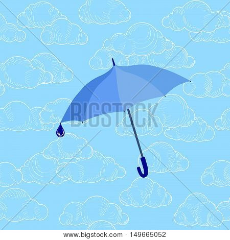 Umbrella over cloudy sky. Clouds seamless pattern Autumn rain background concept