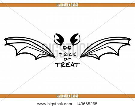 Typography Halloween badge. Black badge isolated on white background. Element of design for Halloween. Vector illustration