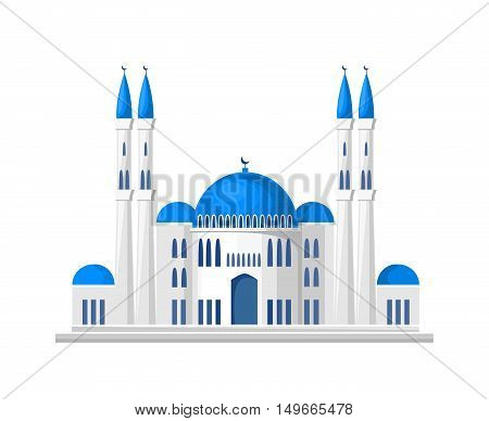 Muslim mosque icon isolated on white background. Vector illustration for islam religion design. Islamic temple landmark. Ramadan kareem holiday. Arabic culture.Religious architecture. Arabian minaret