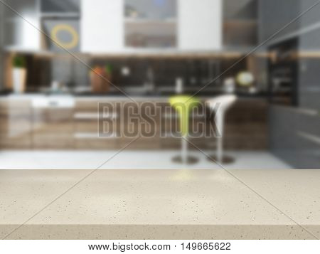 empty white stone desk with blurred kitchen background available in high-resolution 3D rendering