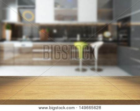 empty wooden desk with blurred kitchen background 3D rendering