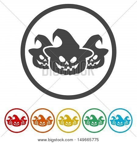 Set of Halloween stickers. Vector on white