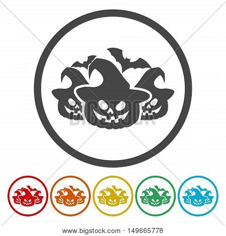 Set of Halloween stickers. Vector set on white