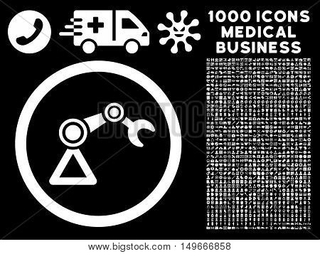 White Artificial Manipulator glyph rounded icon. Image style is a flat icon symbol inside a circle black background. Bonus clipart has 1000 medical business symbols.
