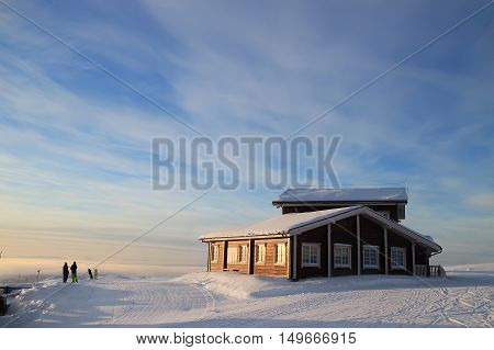 The Ski Resort. The House For The Holidays. Snowboarder And Skier
