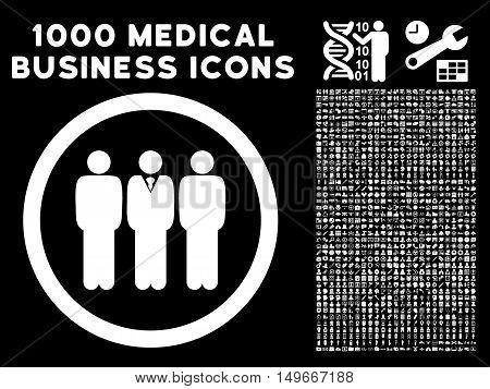 White Clerk Staff glyph rounded icon. Image style is a flat icon symbol inside a circle black background. Bonus set has 1000 medicine business symbols.