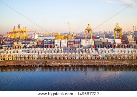 Cargoes In Sea Port. Container Terminal. Port Sant-petersburg