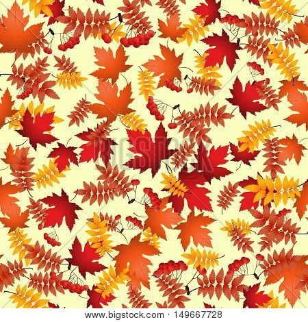 Vector seamless pattern with red and yellow autumn leaves.