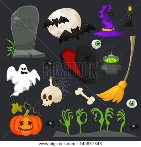 Halloween fashion flat icons isolated on broun background. Halloween vector characters. Pumpkin, witch copper, skull, coffin and other cute Halloween things