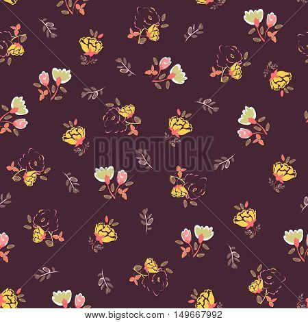 Seamless floral  background. Isolated flowers and leafs on dark red background. Vector illustration.