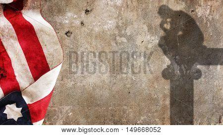 Thinker Shadow. Usa Flag on Concrete Wall