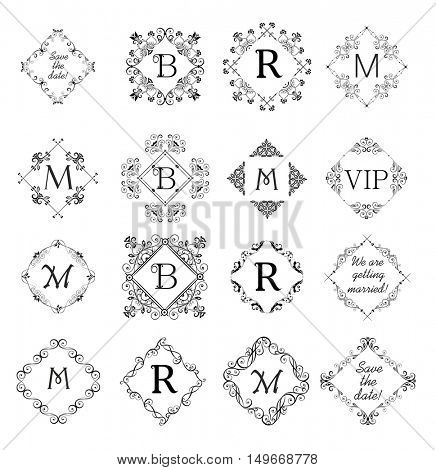 Collection of beautiful vignette for wedding invitation, greeting card. Logo templates, vintage vector monogram, frames for menu card, restaurant, cafe, hotel, jewellery store