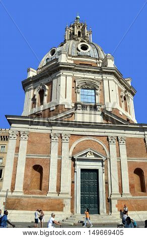 Rome Italy - September 12 2016 : The Church of the Most Holy Name of Mary at the Trajan Forum in Rome
