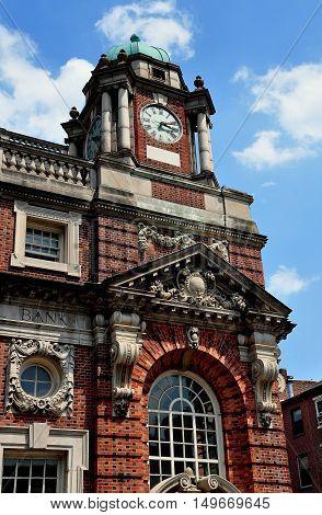 Philadephia Pennsylvania - June 25 2013: 19th century Corn Exchange Naitonal Bank on Market Street