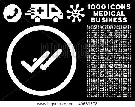 White Validation glyph rounded icon. Image style is a flat icon symbol inside a circle black background. Bonus set is 1000 medical business symbols.