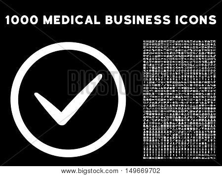 White Valid glyph rounded icon. Image style is a flat icon symbol inside a circle black background. Bonus clip art is 1000 medical business elements.