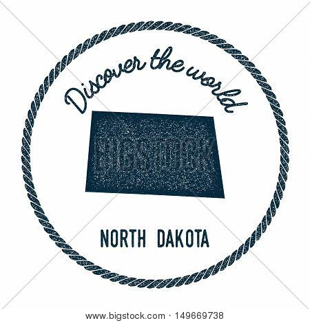 North Dakota Map In Vintage Discover The World Rubber Stamp. Hipster Style Nautical Postage Stamp, W
