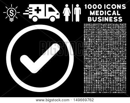 White Yes glyph rounded icon. Image style is a flat icon symbol inside a circle black background. Bonus set has 1000 medicine business design elements.