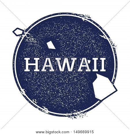 Hawaii Vector Map. Grunge Rubber Stamp With The Name And Map Of Hawaii, Vector Illustration. Can Be