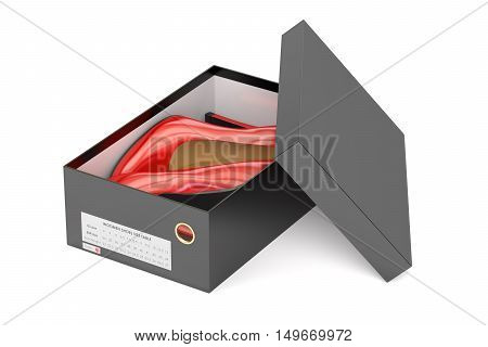 Red high heel shoes in the black shoeboxes 3D rendering isolated on white background
