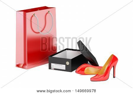 Red high heel shoes shoebox and shopping bag. Shopping concept 3D rendering