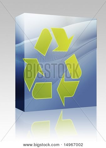 Caixa de pacote de software reciclagem eco ilustração de símbolo de três setas apontando na concepção abstrata